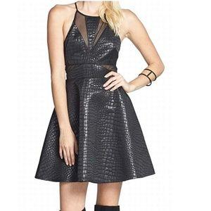 ASTR- Sheath Sheer A-Line Seamed Dress